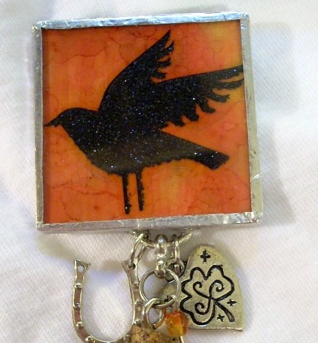 Halloween Crafts - Memory Glass Mixed Media Brooch