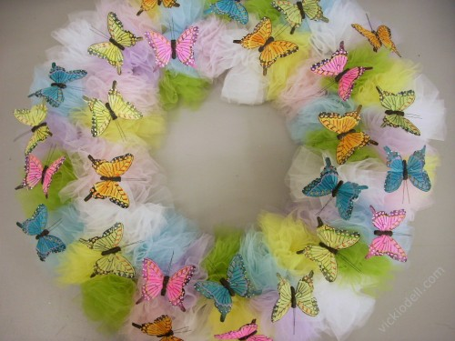 Tulle and Butterfly Spring Wreath