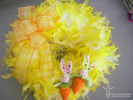 Easter Wreath with feathers and bunnies