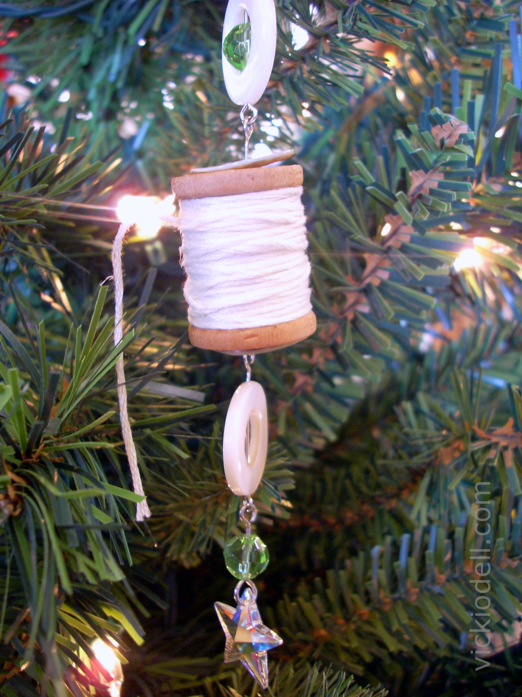 Mixed Media Wooden Spool Christmas Ornaments