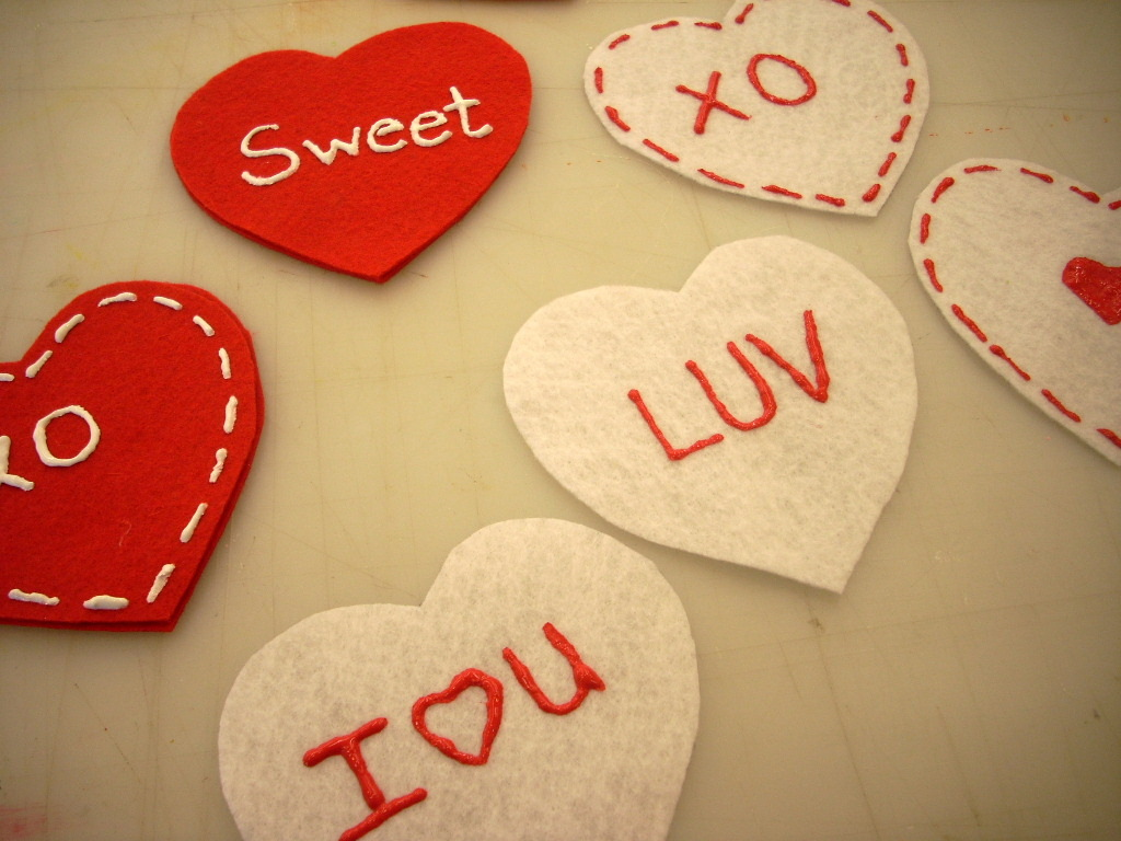 Valentine's Day Ornaments with Felt and Fabri-Tac