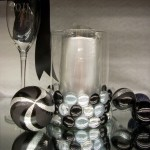 Party Decor: Glass Cylinder Vase and Flat Backed Marbles