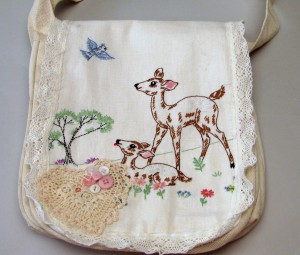 Messenger Bag with Embroidered Table Runner
