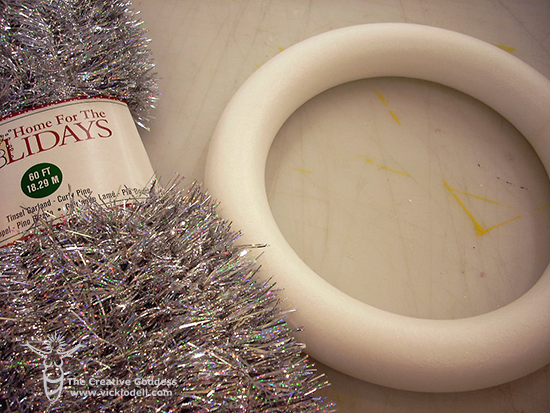 Vintage Inspired Tinsel Wreath for Christmas