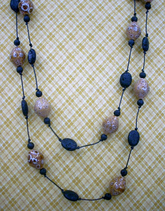 Knotted Ceramic and Lava Bead Necklace