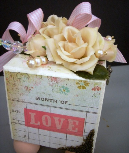 Mixed Media LOVE Block for Valentine's Day