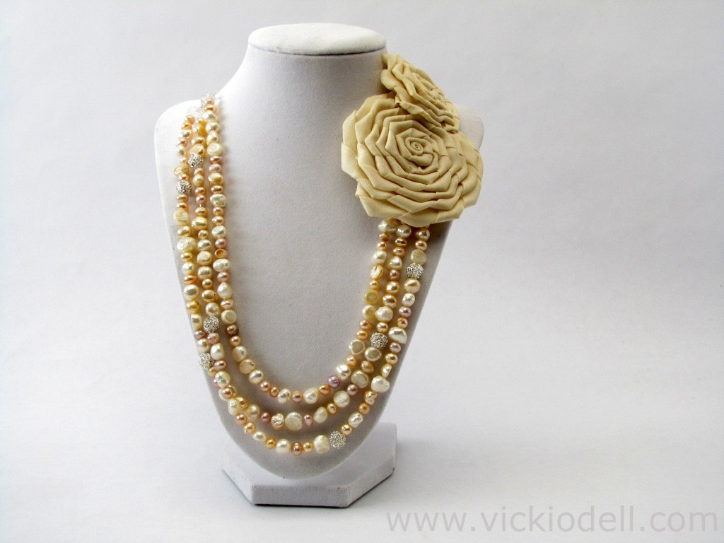 Freshwater Pearl Necklace with Fabric Rose Accents for Mother's Day