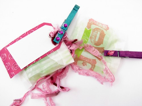 Gift Bag, Party Favor, Gift Tag Embellishments Featuring Jacquard and Clothespins