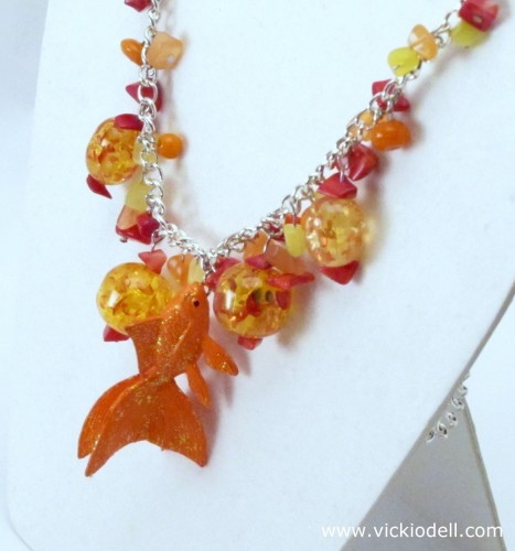 A Goldfish Necklace with Krylon Glitter Blast