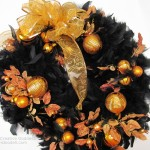 Black Feather Halloween Wreath with Orange Christmas Ornaments