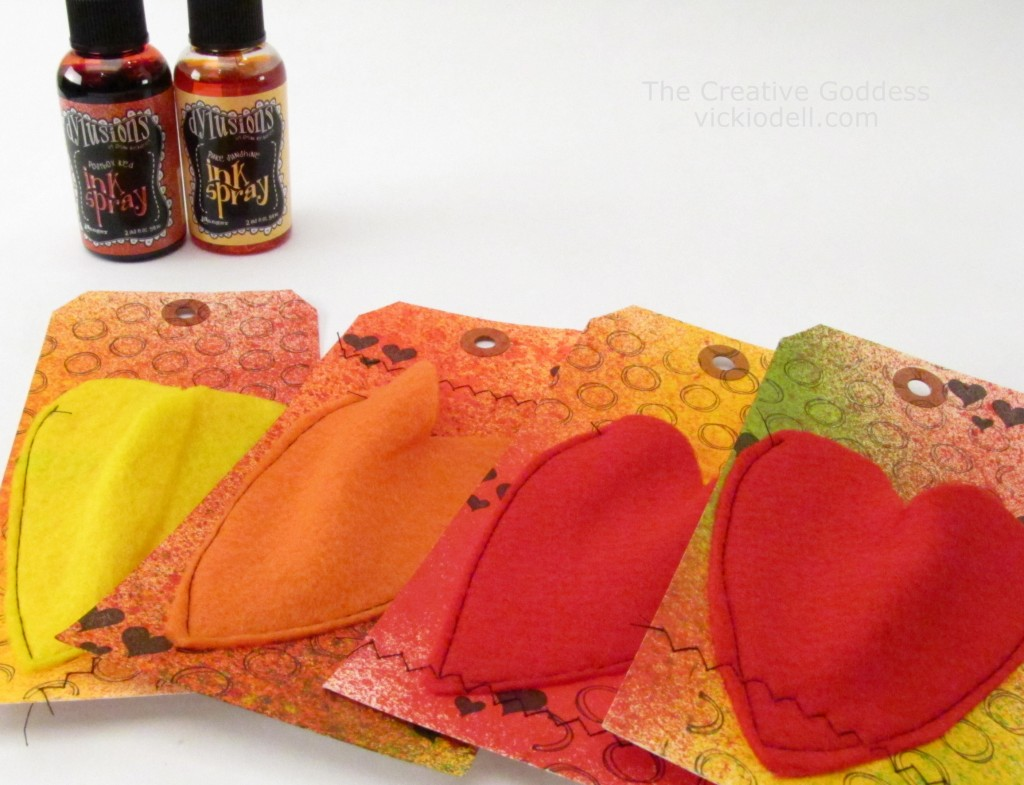 Valentine Gift Tags with Dylusions Ink Sprays
