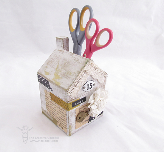 Mixed Media Scissors Holder on Scrapbook Soup