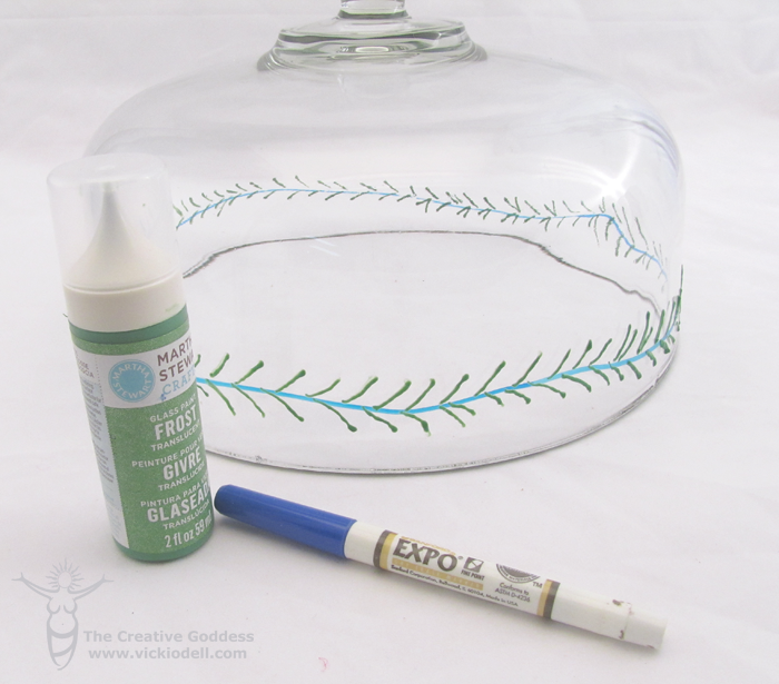 Painted Pine Garland Holiday Cake Stand