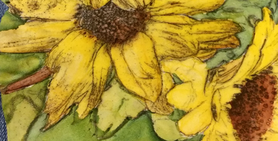 Sunflowers- Alcohol Based Markers on Polymer Clay