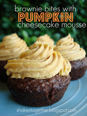 brownie bites with pumpkin cheesecake mousse