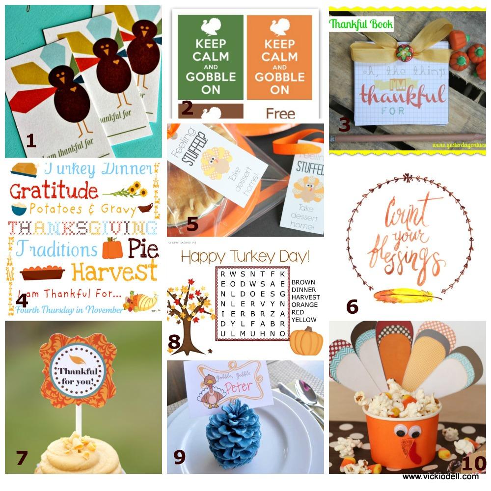 10 Free Thanksgiving Printables