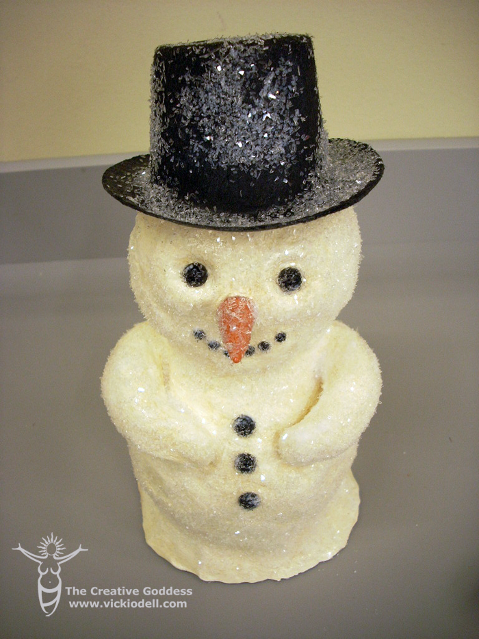 Vintage Inspired Paper Clay Snowman