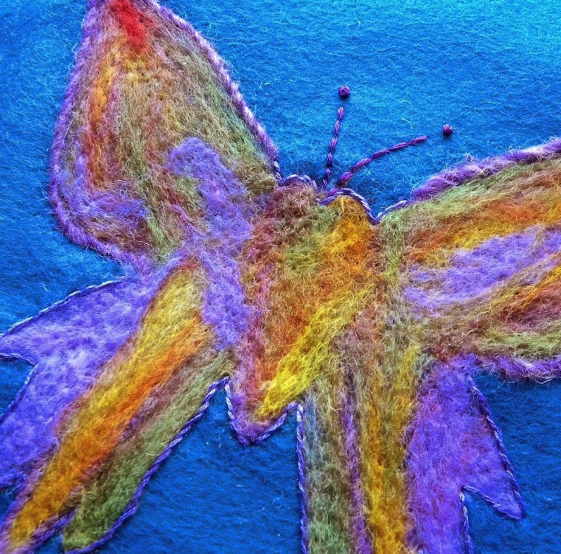 needle felted butterfly variegated roving