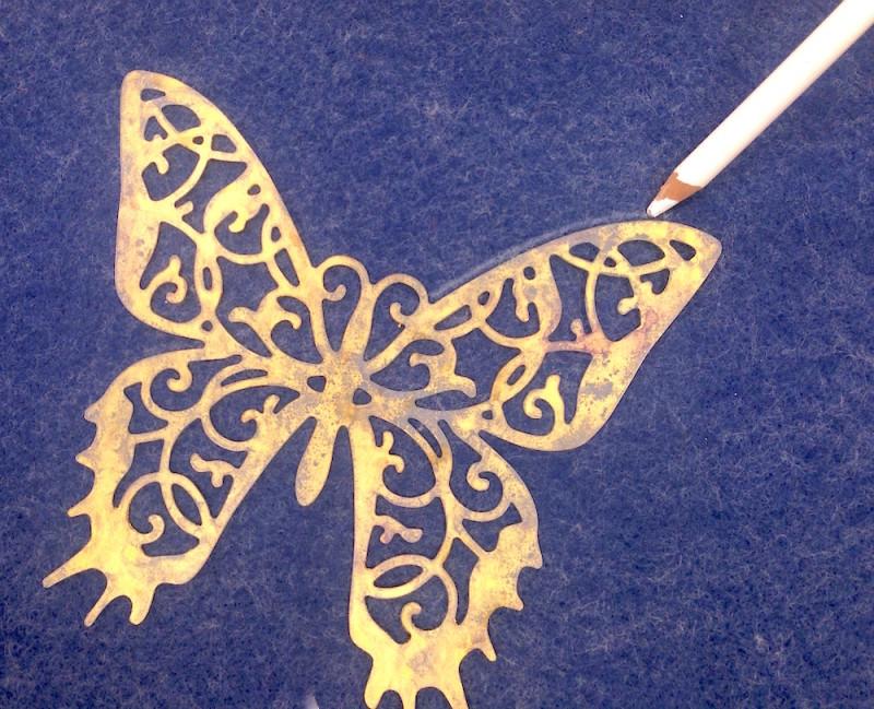 trace butterfly stencil on felt