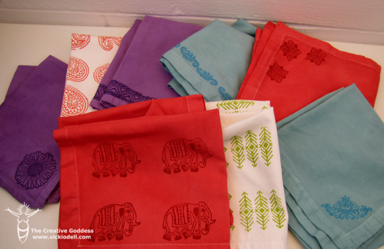 Dyed and Stamped Napkins