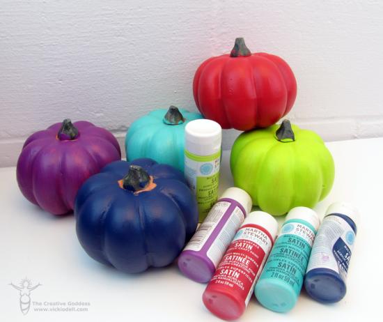 Painted pumpkin centerpieces