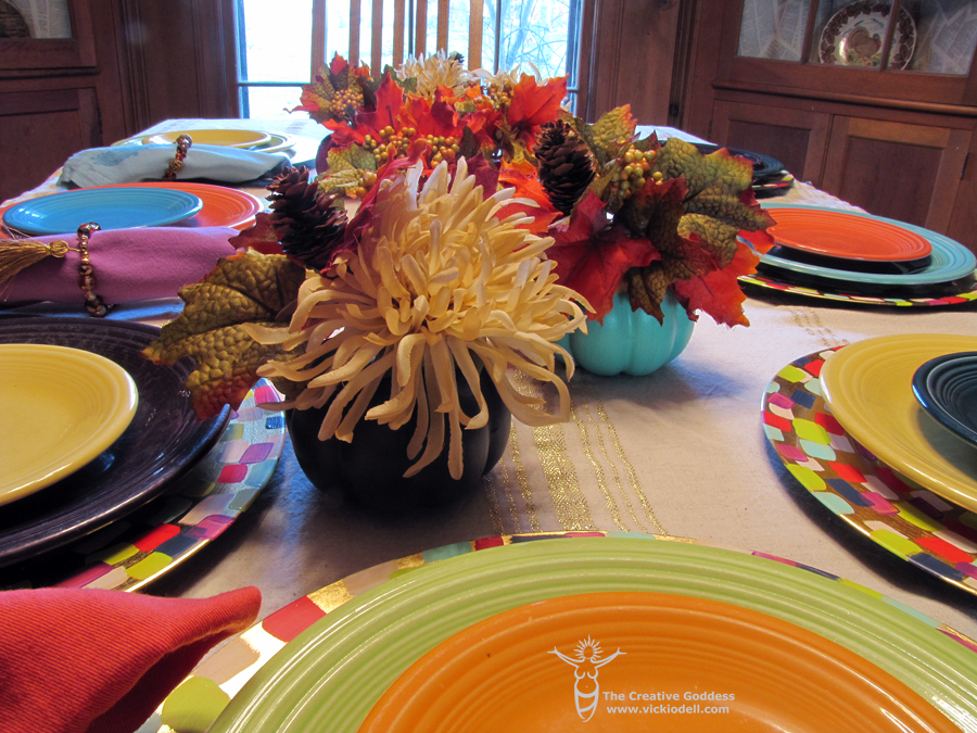 Painted chargers, painted napkins, painted pumpkins