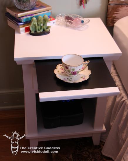 side table from wayfair, bedroom