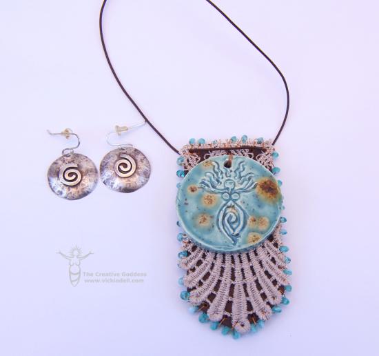 Leather, Lace Pendant - earrings