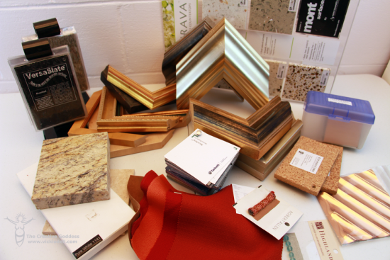 picture frame corners, tiles, fabric and trim