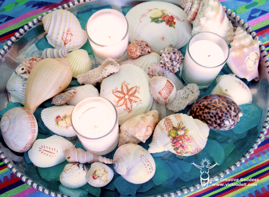 Fill a vintage tray with decopauged and tattooed seashells