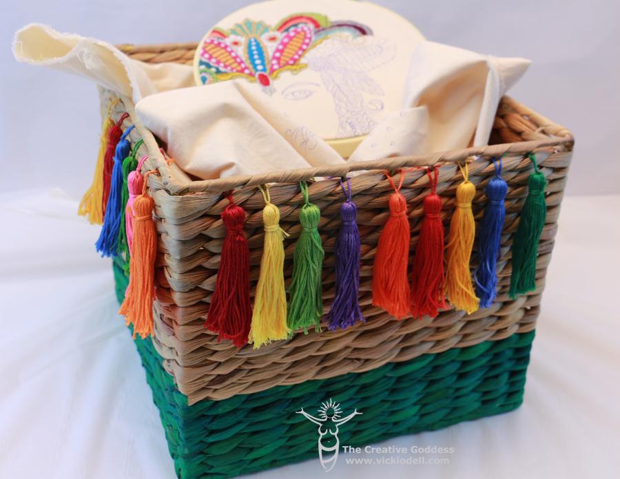 embroidery basket, sweet grass basket, FolkArt Ultra Dye