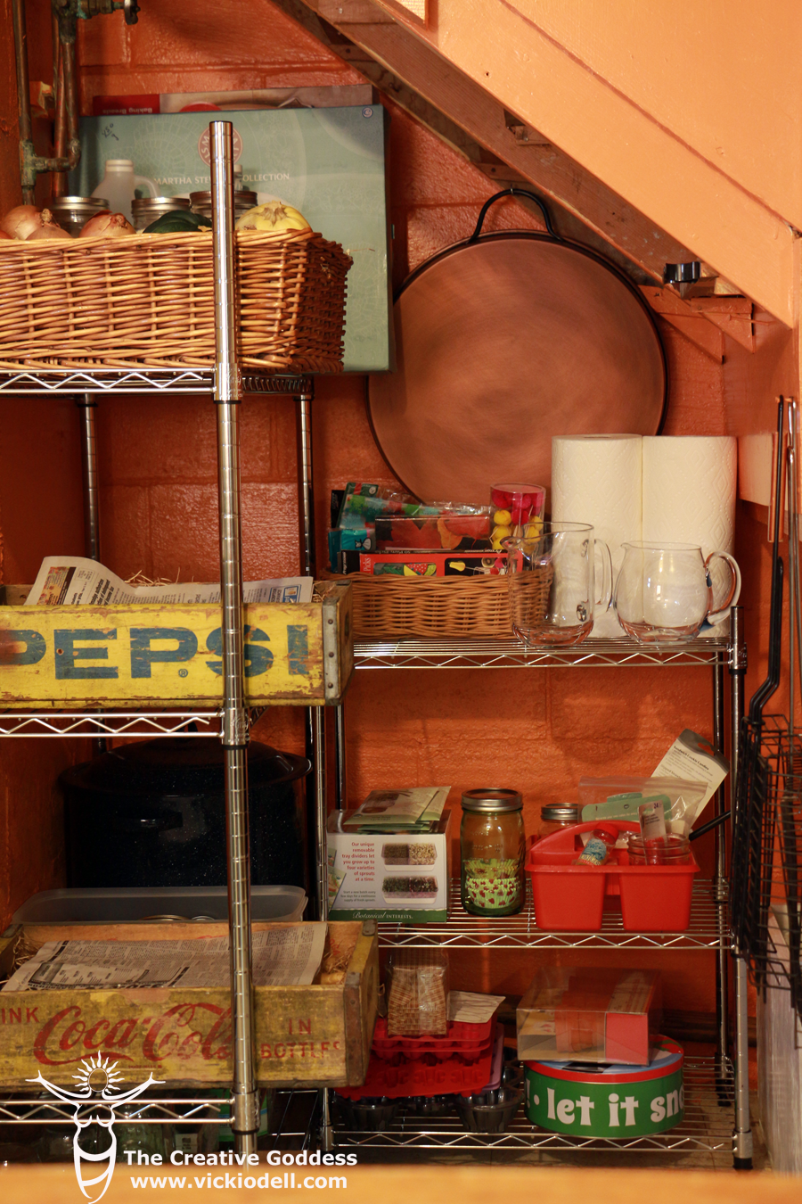 Small under-stairs root cellar