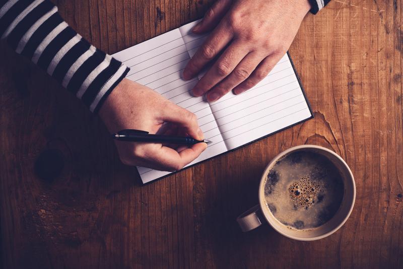 Coffee, writing, journal, woman