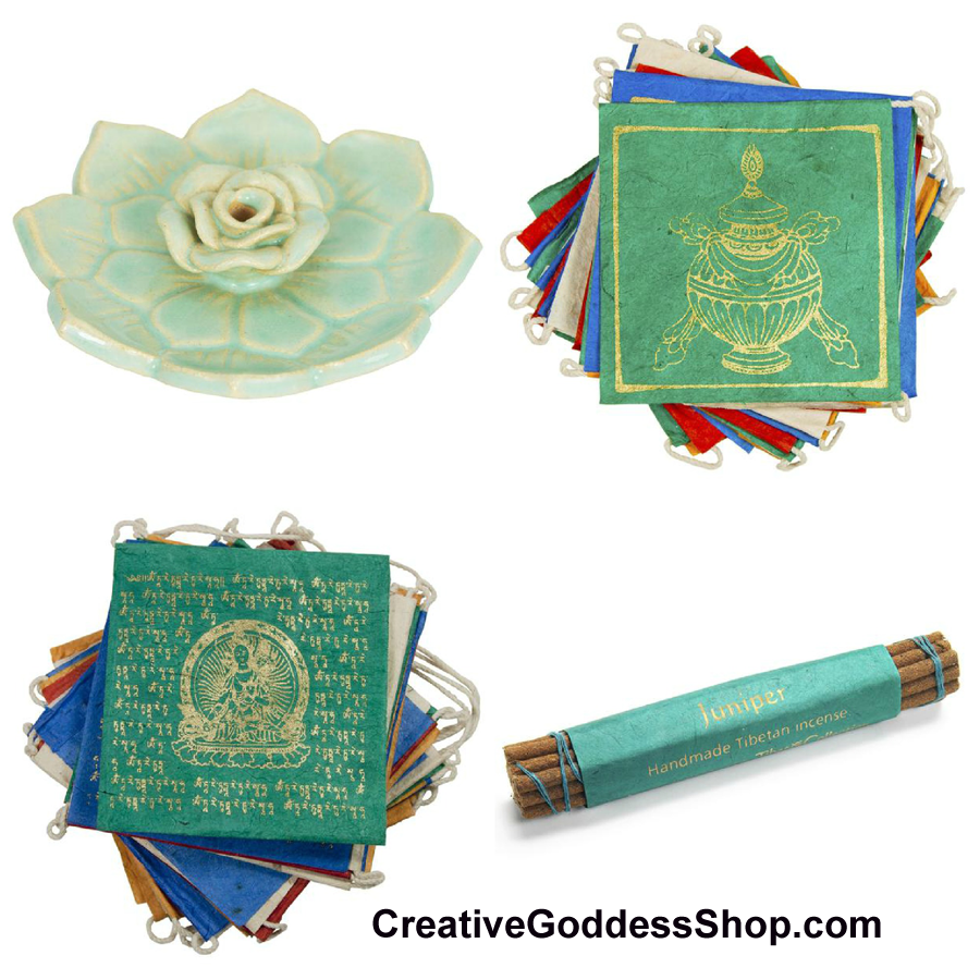 prayer flag, incense burner, incense, meditation