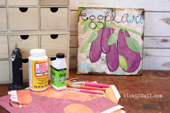 Garden Inspired Mixed Media Art – Eggplant